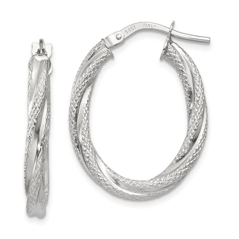 14K White Gold Polished Twisted Textured Oval Hoop Earrings by Versil