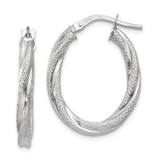 14 Karat White Gold Twisted Textured Oval Hoop Earrings