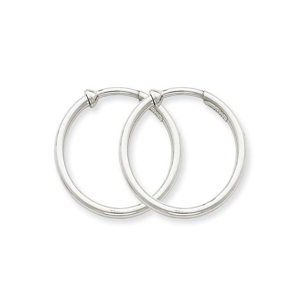 14 Karat White Gold Non Pierced Earring Hoops Earrings