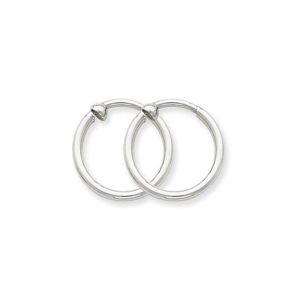14 Karat White Gold Non Pierced Hoop Earrings
