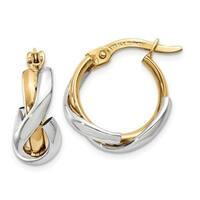 14 Karat Two-Tone Polished Fancy Hoop Earrings