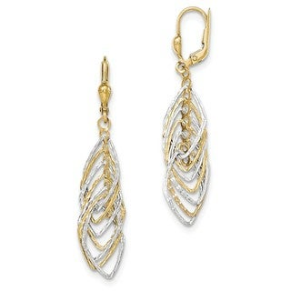 14 Karat Two-tone Polished and Diamond Cut Dangle Leverback Earrings