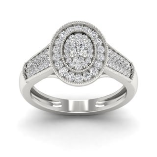 De Couer 1/2ct TDW Diamond Oval Shape Halo Ring
