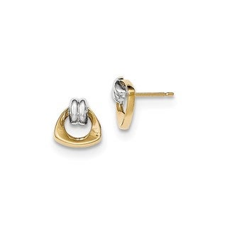 14 Karat With Rhodium Polished Fancy Post Earrings