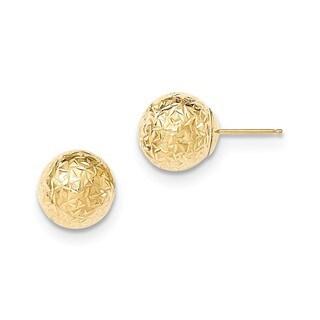 14 Karat Gold Round 10mm Crystal-cut Diamond Cut Ball Earrings