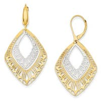 14 Karat Two-tone Fancy Leverback Earrings