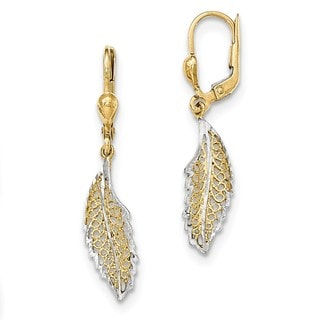 14 Karat and Rhodium Polished and Textured Leaf Leverback Earrings