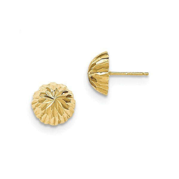 14 Karat Gold Diamond Cut 10mm Domed Post Earrings