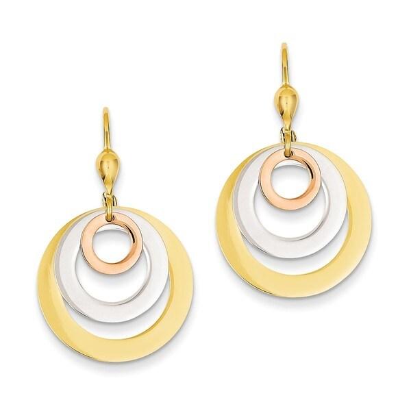 14 Karat Tri Color Circle Leverback Dangle Earrings