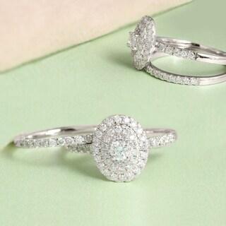 De Couer 1ct TDW Diamond Oval Shape Halo Bridal Set - White