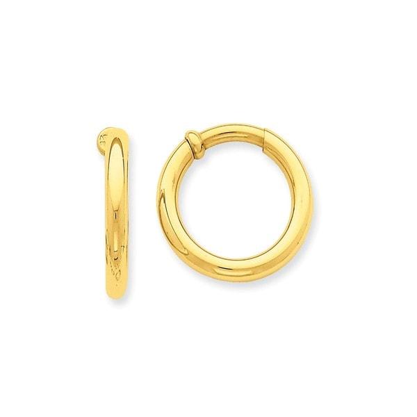 14 Karat Non Pierced Hoop Earrings