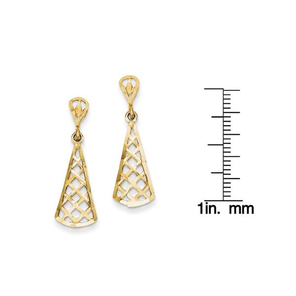 14K Diamond-cut Inverted Fan Dangle Post Earring