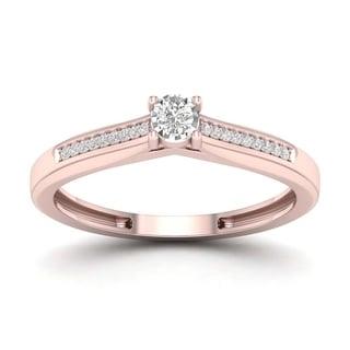 De Couer 1/10ct TDW Diamond Classic Ring (H-I, I2) - Pink