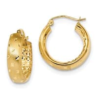 14 Karat Polished, Satin & Diamond Cut In/Out Hoop Earrings
