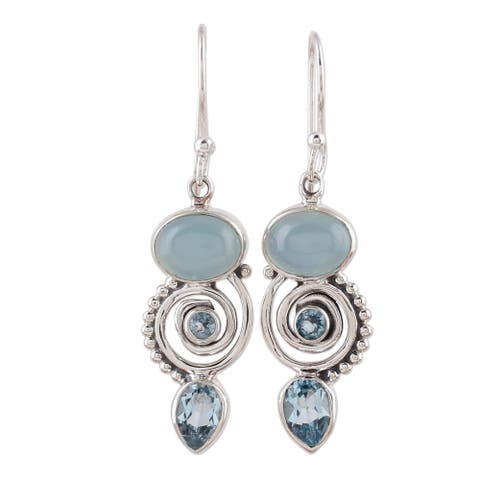 Handmade Sentimental Journey Topaz Chalcedony Earrings (India) - Silver/Purple Beads