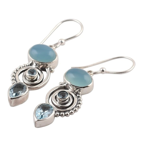 Official Website Natural Turkish Chalcedony Gemstone 925 Sterling Silver Earring Designer Jewelry A Great Variety Of Goods Engagement & Wedding Jewelry & Watches