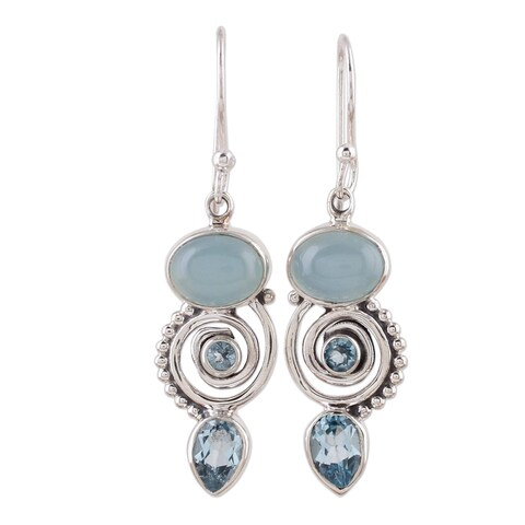 Handmade Sterling Silver 'Sentimental Journey' Topaz Chalcedony Earrings (India)