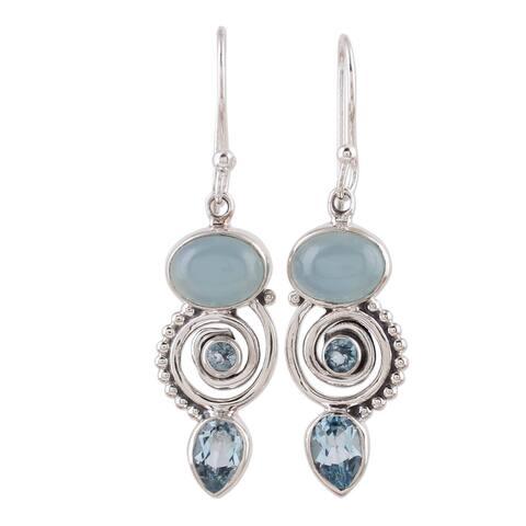 Handmade Sterling Silver Sentimental Journey Topaz Chalcedony Earrings (India) - Silver/Purple Beads
