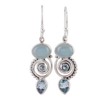 Handmade Sterling Silver Sentimental Journey Topaz Chalcedony Earrings India