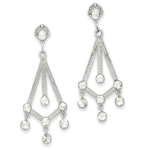 14 Karat White Gold Diamond-cut Chandelier Earrings by Versil