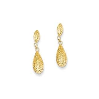 14 Karat Diamond-cut Puff Teardrop Dangle Earrings