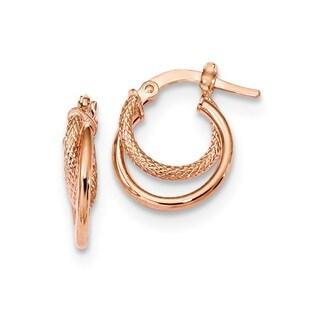 14 Karat Rose Gold Polished & Textured Hinged Hoop Earrings
