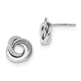 14 Karat White Gold Polished Love Knot Post Earrings