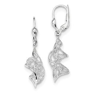14 Karat White Gold Polished Twisted Diamond Cut Dangle Leverback Earrings