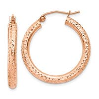 14 Karat Rose Gold 3mm Diamond-cut Hoop