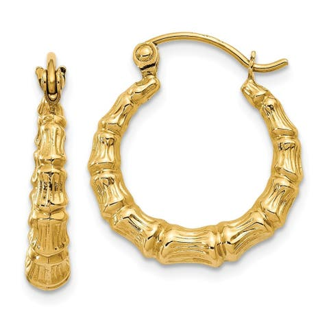 14K Yellow Gold Polished Bamboo Design Hollow Hoop Earrings by Versil