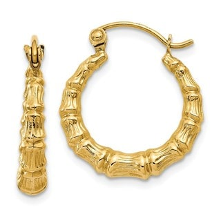 14 Karat Polished Bamboo Design Hollow Hoop Earrings
