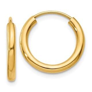 14 Karat Polished Round Endless 2mm Hoop Earrings