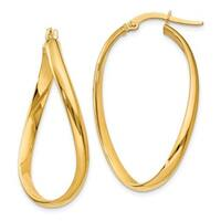 14 Karat Twisted Oval Hoop Earrings