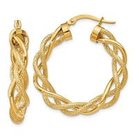 14 Karat Polished & Satin Twisted Hoop Earrings