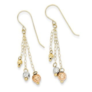 14 Karat Tri-color Strands with Diamond Cut Bead Earrings