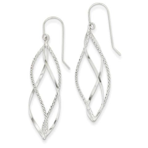 14K White Gold Polished and Textured Twisted Dangle Earrings by Versil