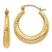 14 Karat Diamond Cut Hollow Hoop Earrings