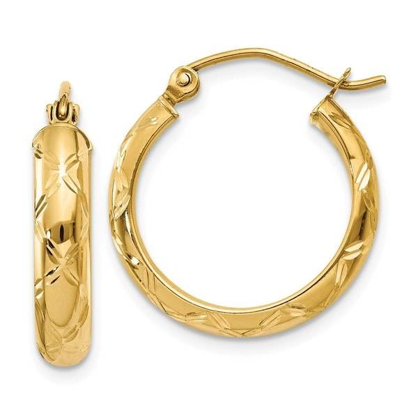overstock earrings shop 14 karat cut polished hoop earring on sale 8855