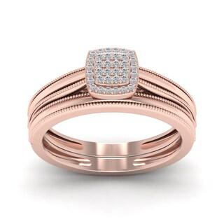 De Couer 1/10ct TDW Diamond Promise Ring - Pink