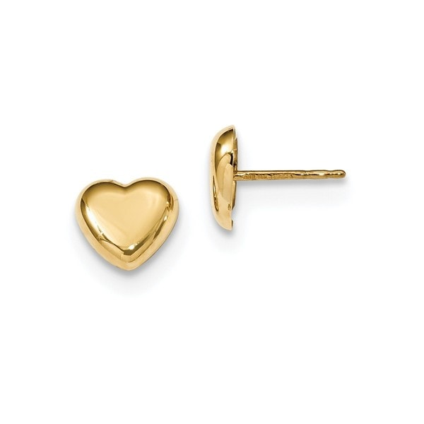 14 Karat Gold Polished Heart Post Earrings