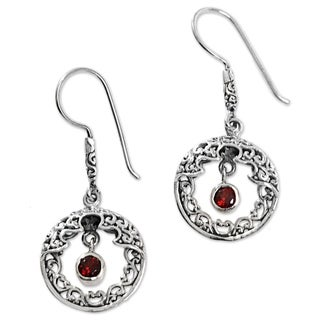 Handcrafted Sterling Silver 'Cage of the Sun' Garnet Earrings (Indonesia)