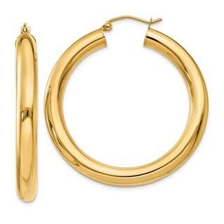 14 Karat Polished 5mm Tube Hoop Earrings