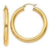 14 Karat Polished 5mm Tube Hoop Earrings