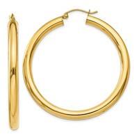 14 Karat Polished 4mm x 45mm Tube Hoop Earrings