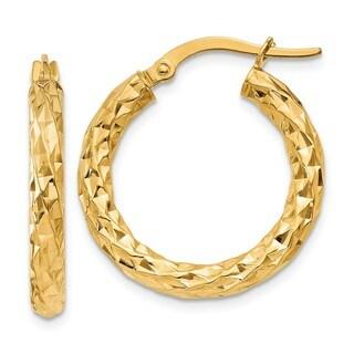 14 Karat  3mm Textured Round Hoop Earrings
