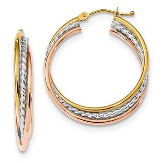 14 Karat Tri-color Polished Rope Twisted Hoop Earrings