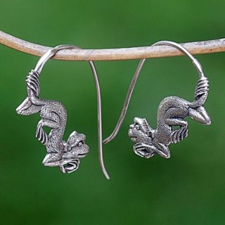 Handcrafted Sterling Silver 'Reposing Monkey' Earrings (Indonesia)