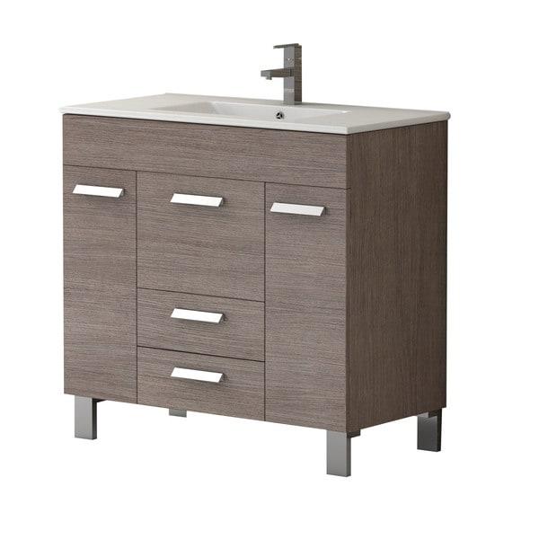 Eviva Venus 36 Inch Medium Oak Modern Bathroom Vanity With White Integrated Porcelain Sink