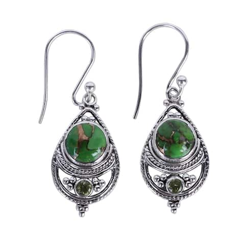 Handmade Sterling Silver Green Elegance Peridot Turquoise Earrings (India)