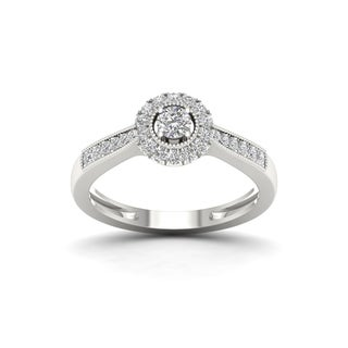 De Couer 1/3ct TDW Diamond Halo Engagement Ring - White